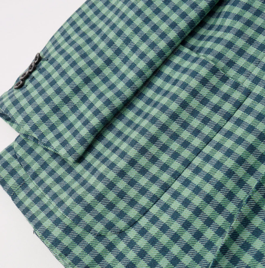 Kiton Green and Teal Check Cashmere Sport Coat