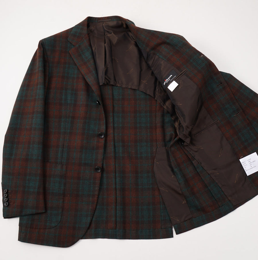 Kiton Green and Rust Check Cashmere Sport Coat