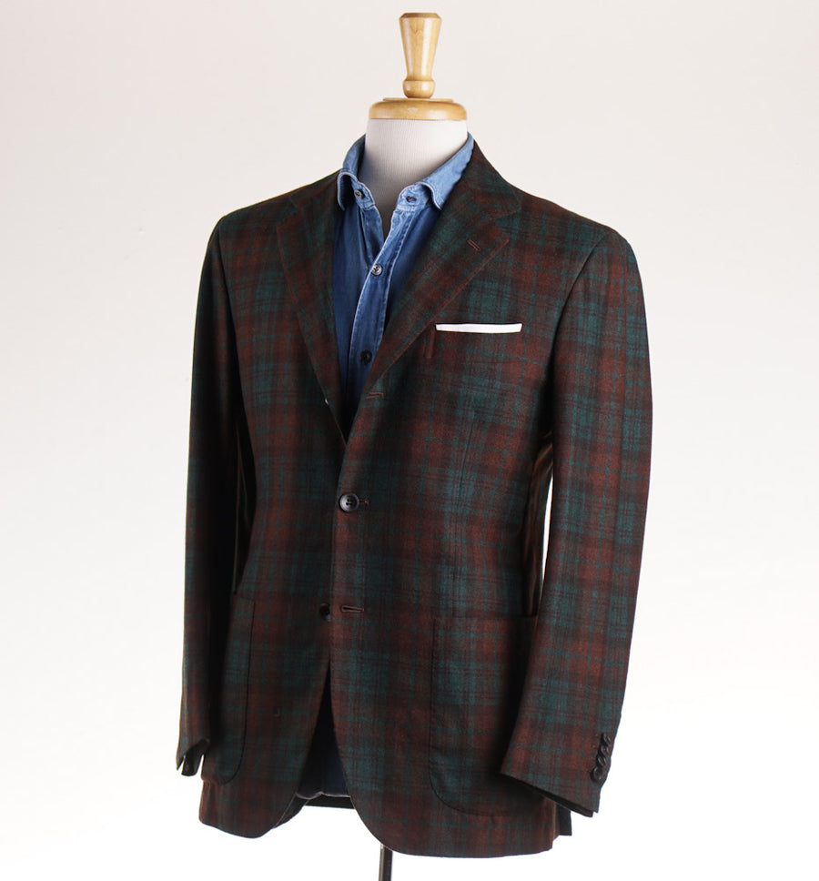 Kiton Green and Rust Check Cashmere Sport Coat - Top Shelf Apparel