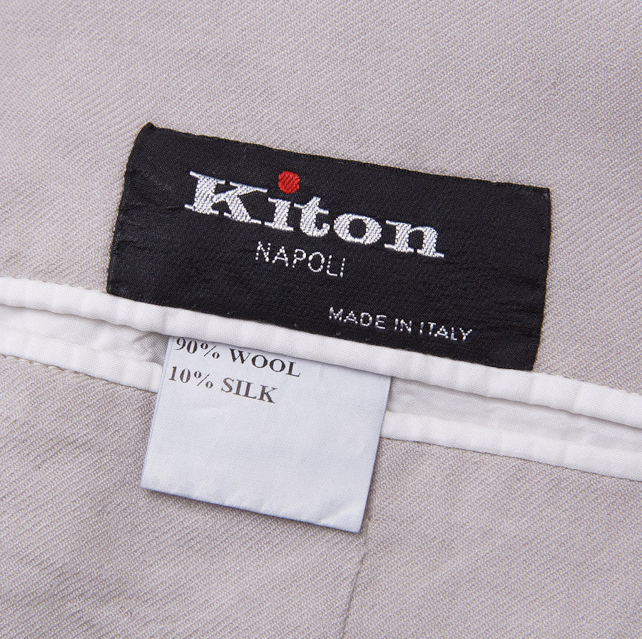 Kiton Lightweight Pale Gray Wool-Silk Sport Coat - Top Shelf Apparel - 9
