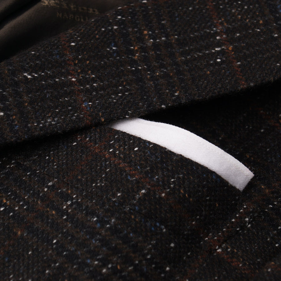 Kiton Brown Check Melange Cashmere Sport Coat