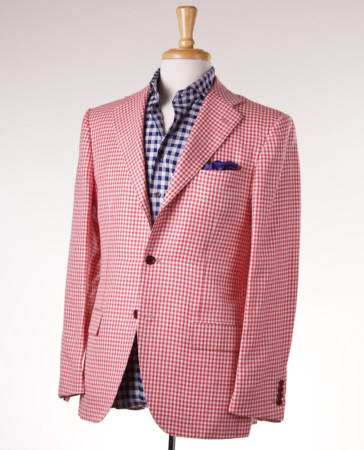 Kiton Gingham Check Cashmere-Linen-Vicuna Sport Coat - Top Shelf Apparel - 1