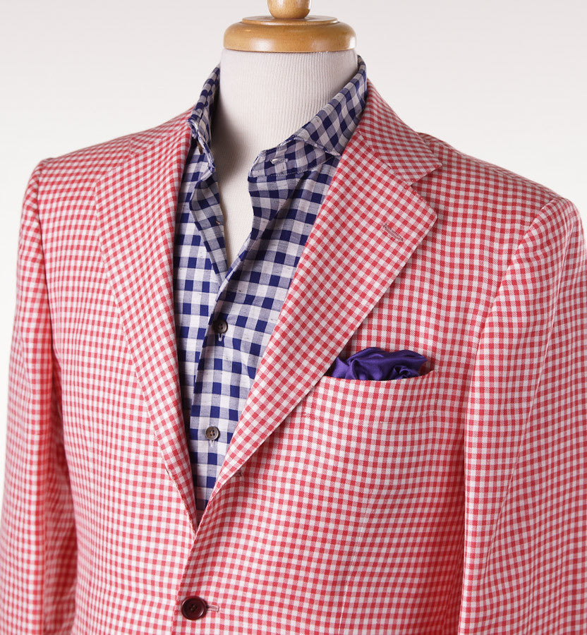 Kiton Gingham Check Cashmere-Linen-Vicuna Sport Coat