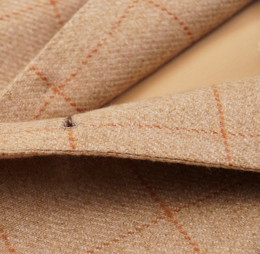 Kiton Tan and Orange Check Cashmere Sport Coat