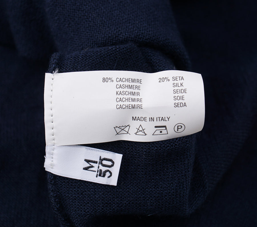 Kiton Navy Cashmere-Silk V-Neck Sweater