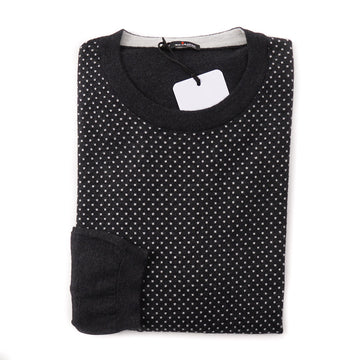 Kiton Cashmere-Silk Sweater in Gray and White Dot