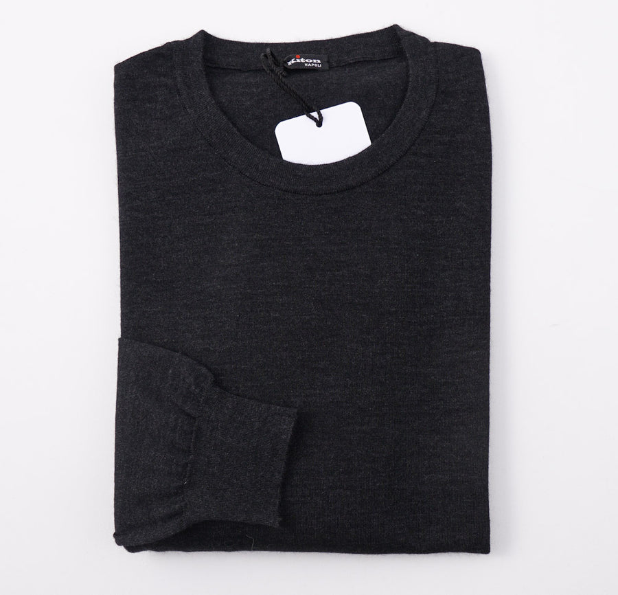 Kiton Slim-Fit Gray Cashmere-Silk Sweater