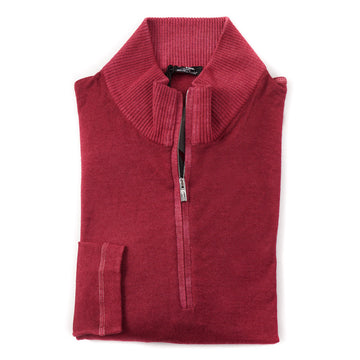 Kiton Half-Zip Cashmere Nuvola Sweater in Raspberry