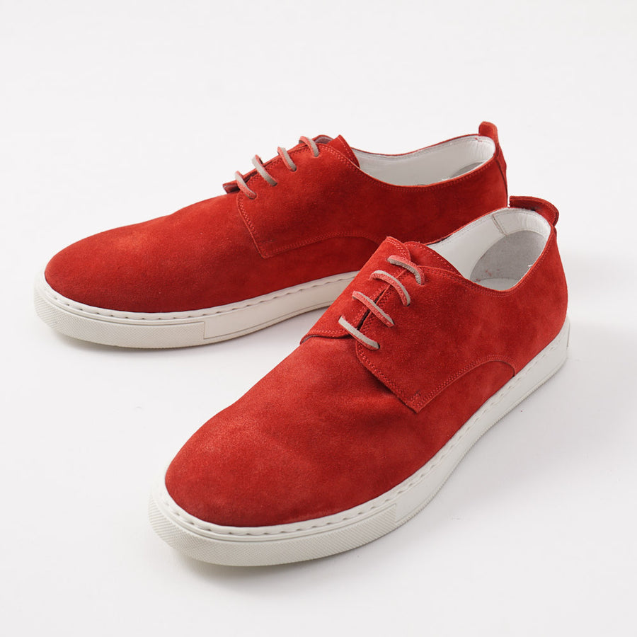 Kiton Low-Top Sneaker in Tomato Red Suede