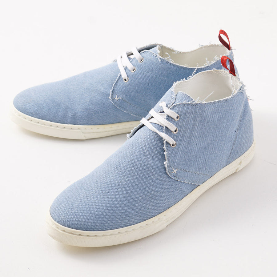 Kiton Lightweight Chukka Sneaker in Blue Canvas