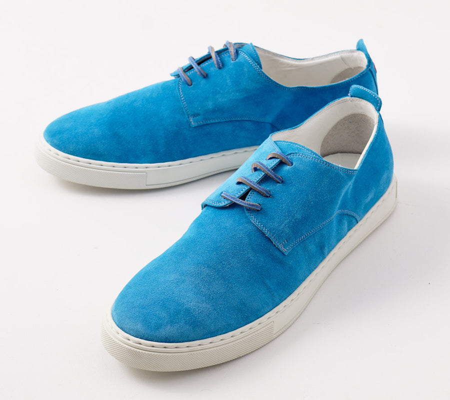 Kiton Low-Top Sneaker in Turquoise Suede