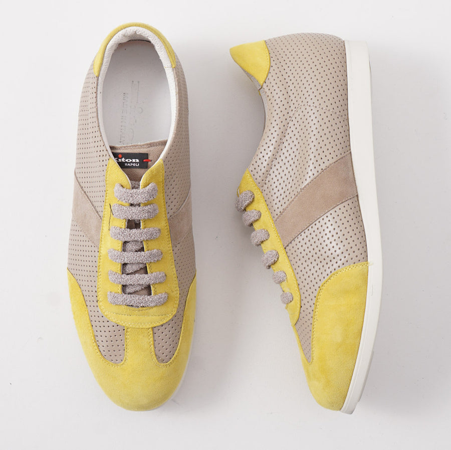 Kiton Low-Top Sneaker in Gray and Yellow Leather