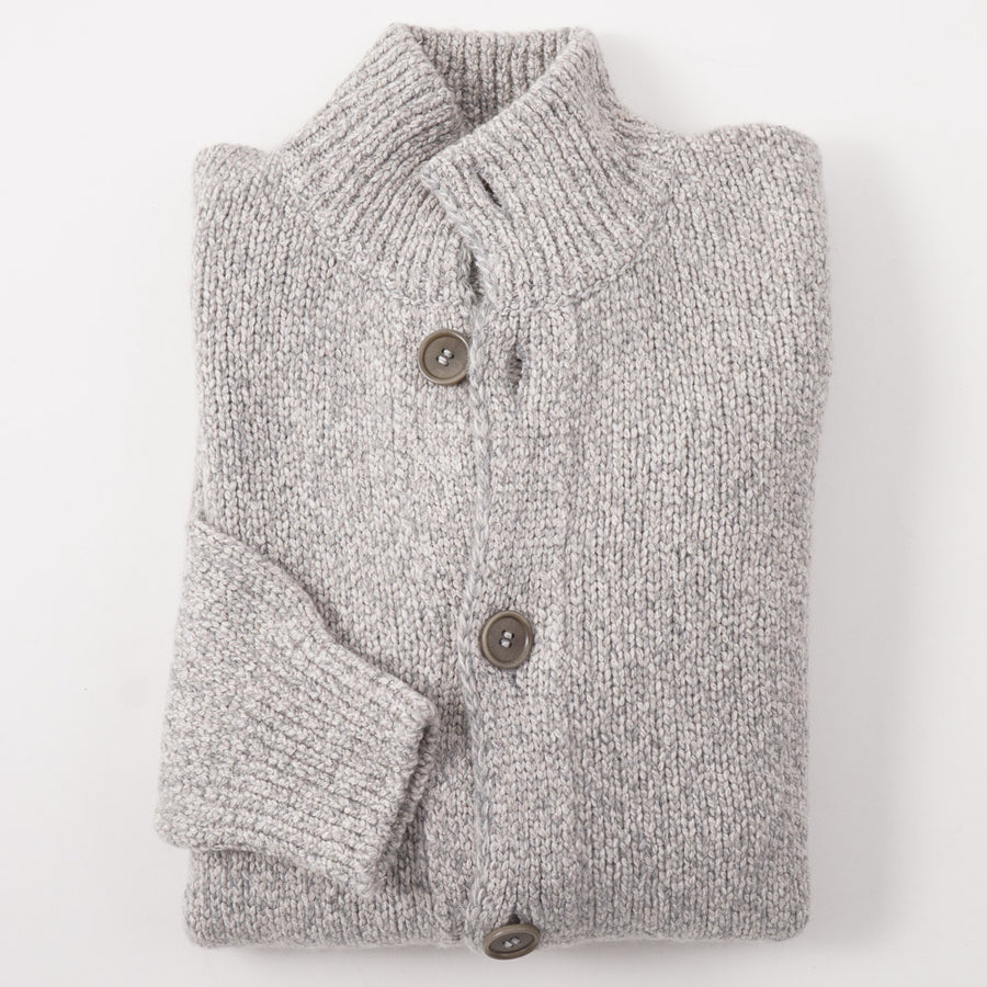 Kiton Cashmere Cardigan Sweater in Marled Gray - Top Shelf Apparel
