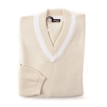 Kiton V-Neck Cotton Tennis Sweater