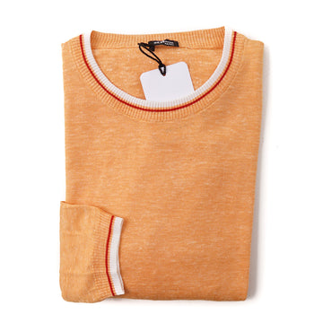 Kiton Lightweight Silk-Linen Sweater in Tangerine