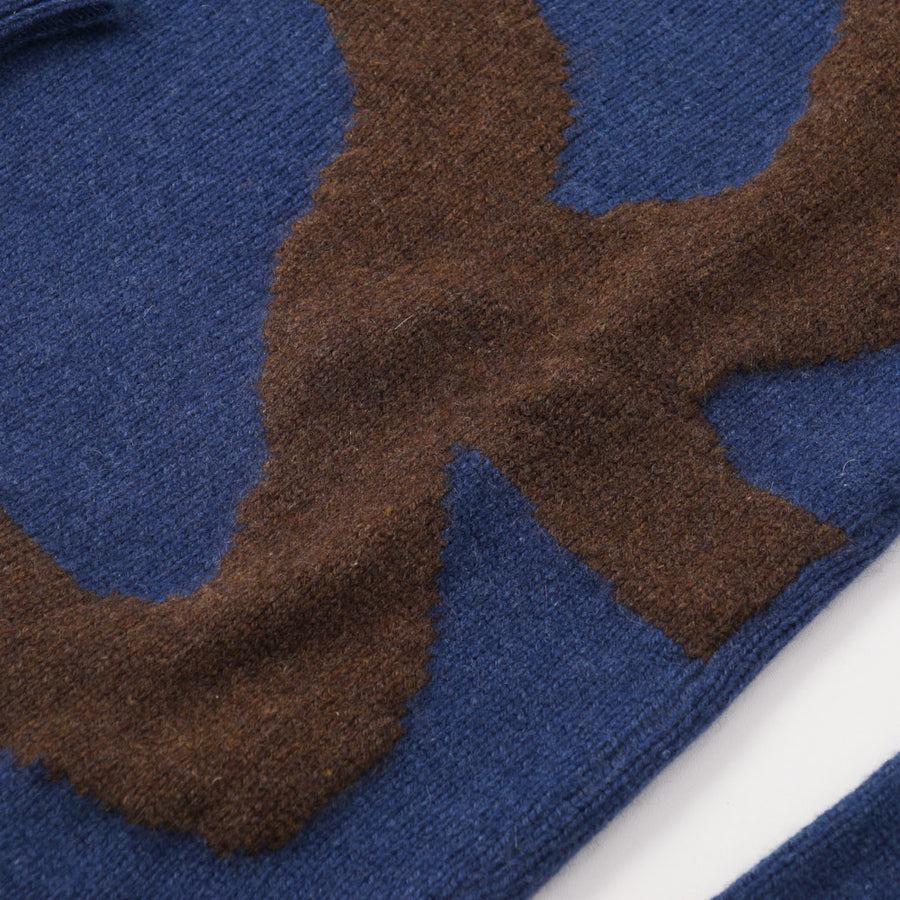 Kiton Blue and Brown Patterned Regal Cashmere Sweater