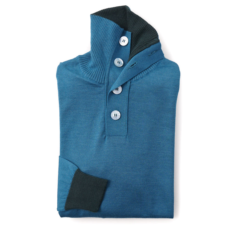 Kiton Buttoned Cashmere-Silk Sweater in Turquoise Blue - Top Shelf Apparel