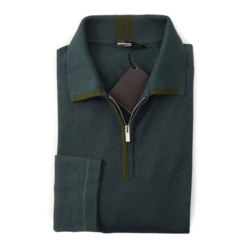 Kiton Half Zip Cashmere-Silk Sweater in Forest Green