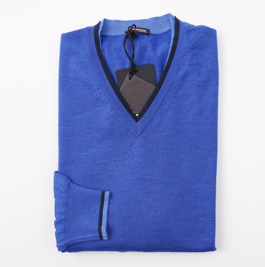 Kiton Bright Blue Cashmere-Silk Sweater