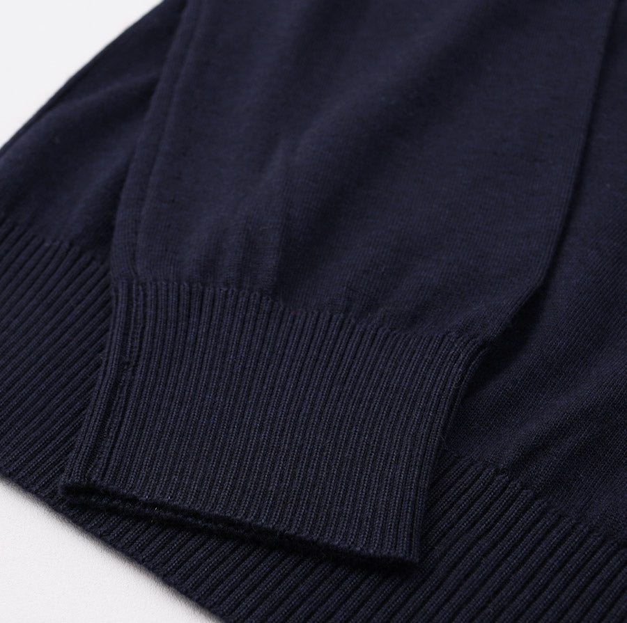 Kiton Navy Tipped Cashmere-Silk Sweater
