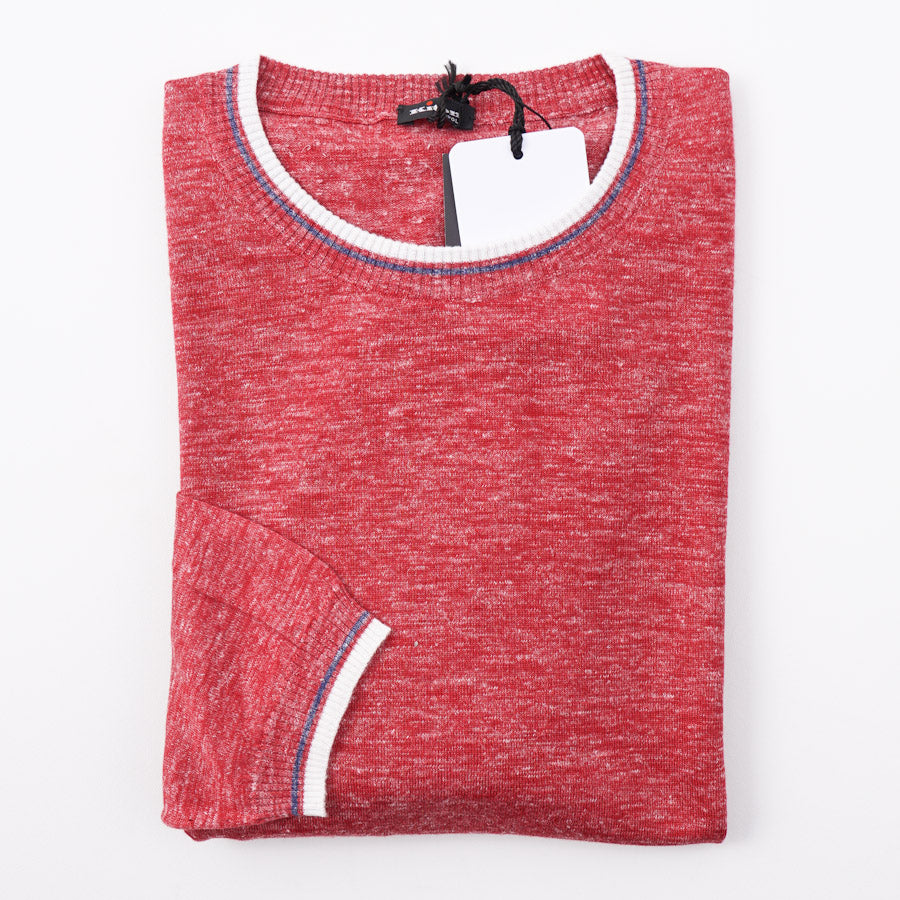 Kiton Red Melange Silk-Linen Sweater