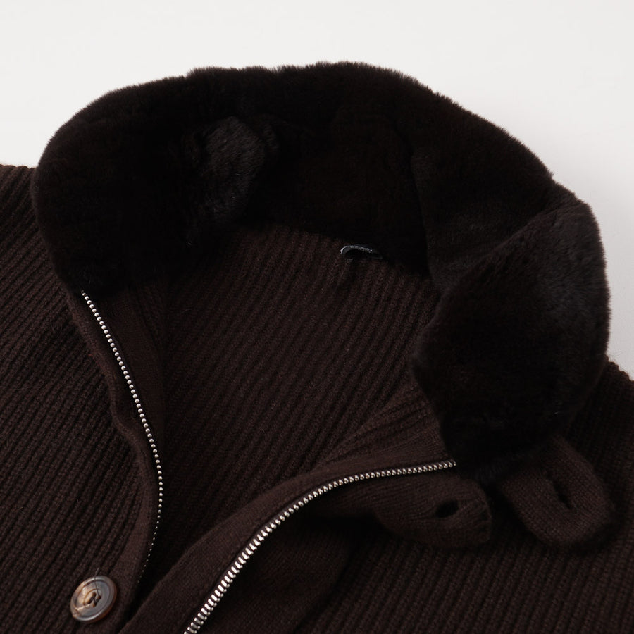 Kiton Regal Cashmere Sweater with Mink Collar - Top Shelf Apparel