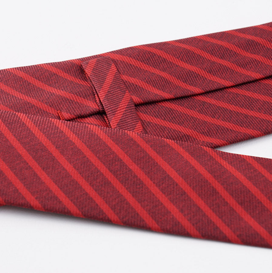 Kiton Red and Burgundy Striped Silk Tie