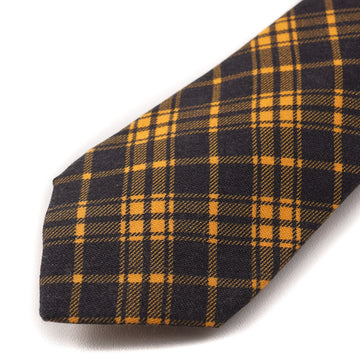 Kiton Gold and Navy Plaid Wool Tie