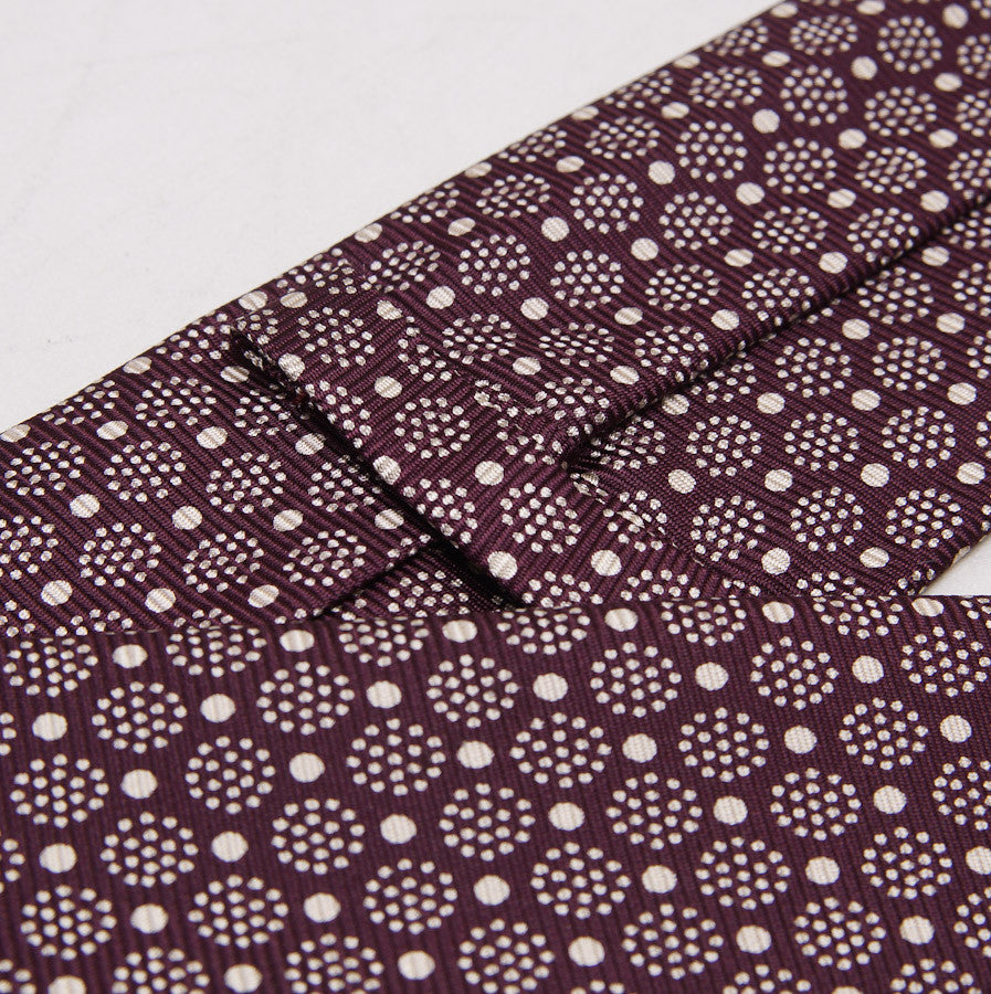 Kiton Plum Burgundy Medallion Print Silk Necktie - Top Shelf Apparel - 3