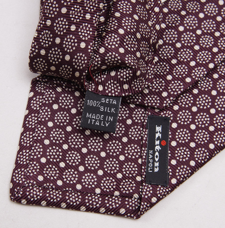 Kiton Plum Burgundy Medallion Print Silk Necktie - Top Shelf Apparel - 4