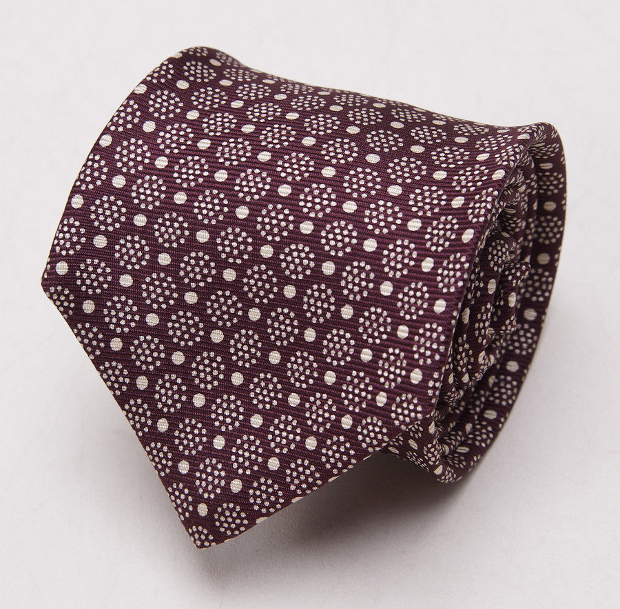 Kiton Plum Burgundy Medallion Print Silk Necktie - Top Shelf Apparel - 1
