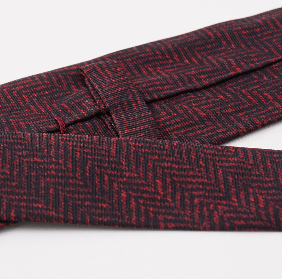 Kiton Black and Red Herringbone Silk Tie