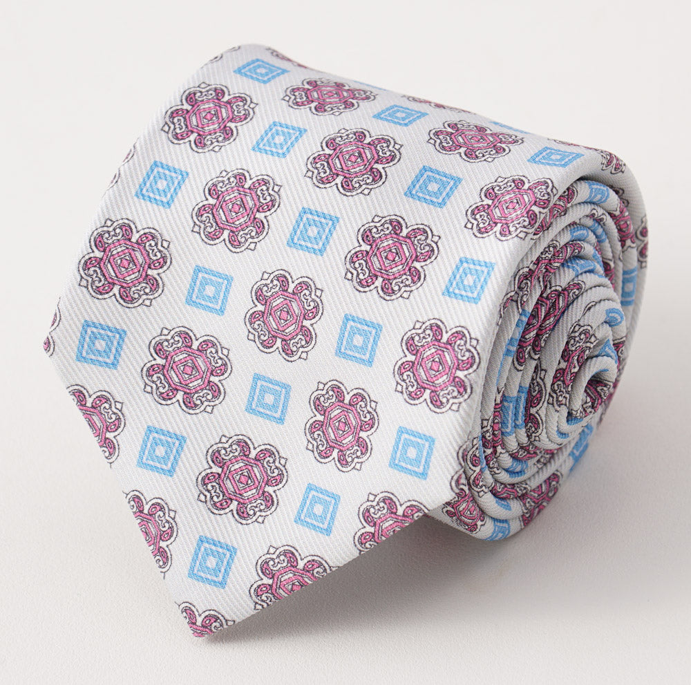 f4fa4c21a57324 Kiton Pink and Sky Medallion Print Silk Tie – Top Shelf Apparel