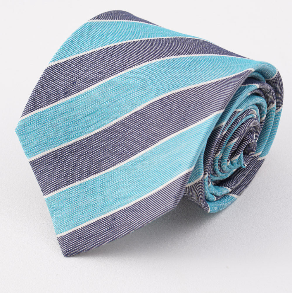 fa2a9d14ce4609 Kiton Turquoise and Navy Striped Silk Tie – Top Shelf Apparel