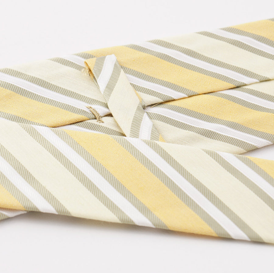 Kiton Yellow and Green Striped Silk Tie