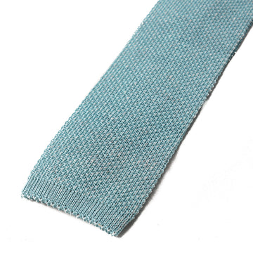 Isaia Blue Knit Silk and Linen Tie