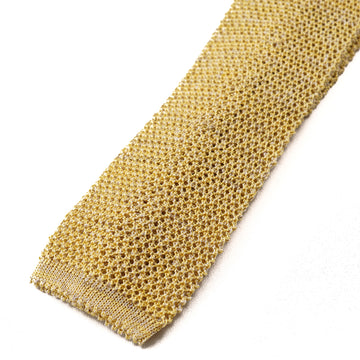 Isaia Gold Knit Silk and Linen Tie