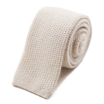 Isaia Ivory Knit Cashmere Tie