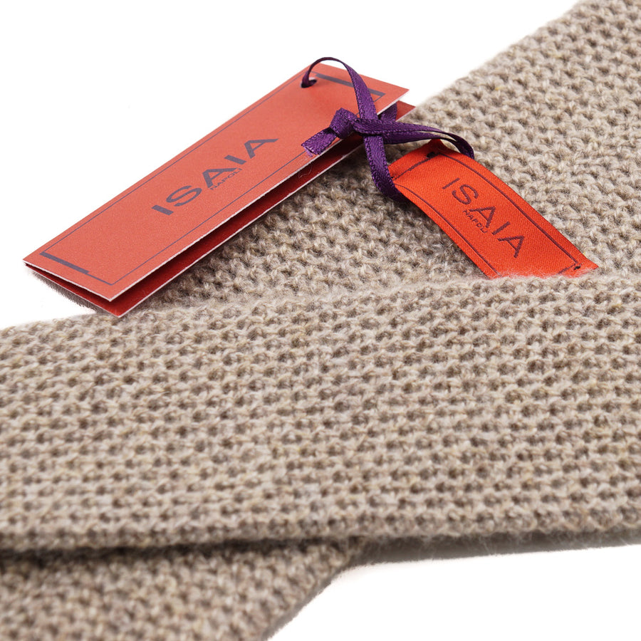 Isaia Oatmeal Knit Cashmere Tie