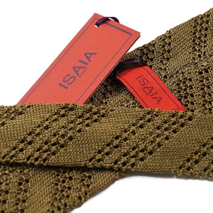 Isaia Striped Knit Silk Tie