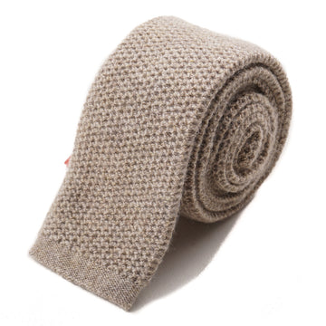 Isaia Oatmeal Knit Cashmere Tie - Top Shelf Apparel