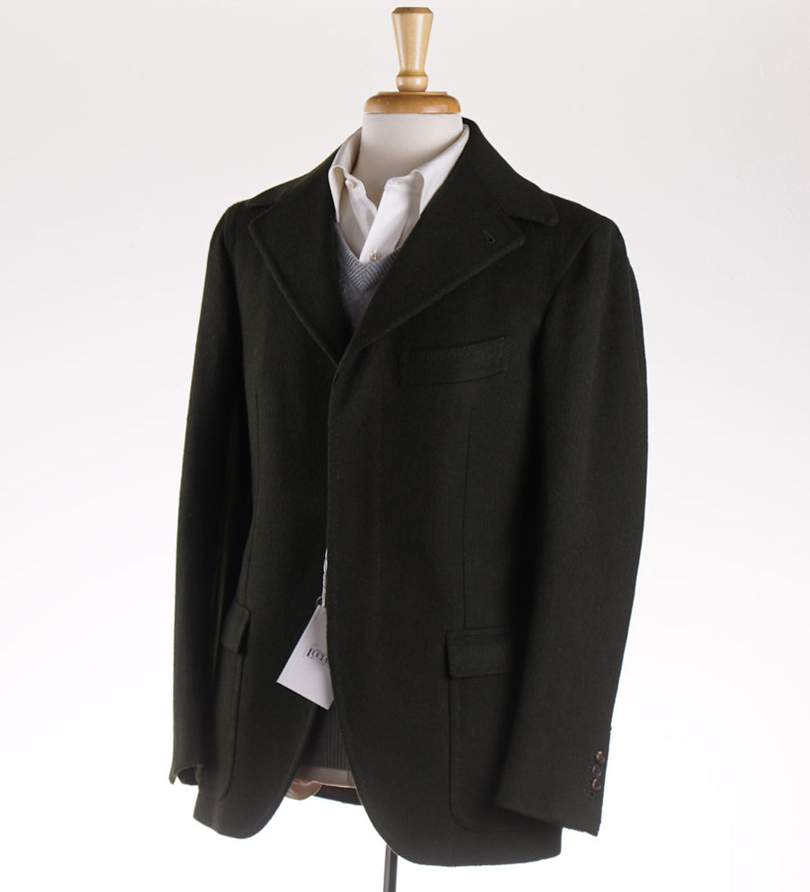 Orazio Luciano Flannel Wool Coat in Loden Green - Top Shelf Apparel