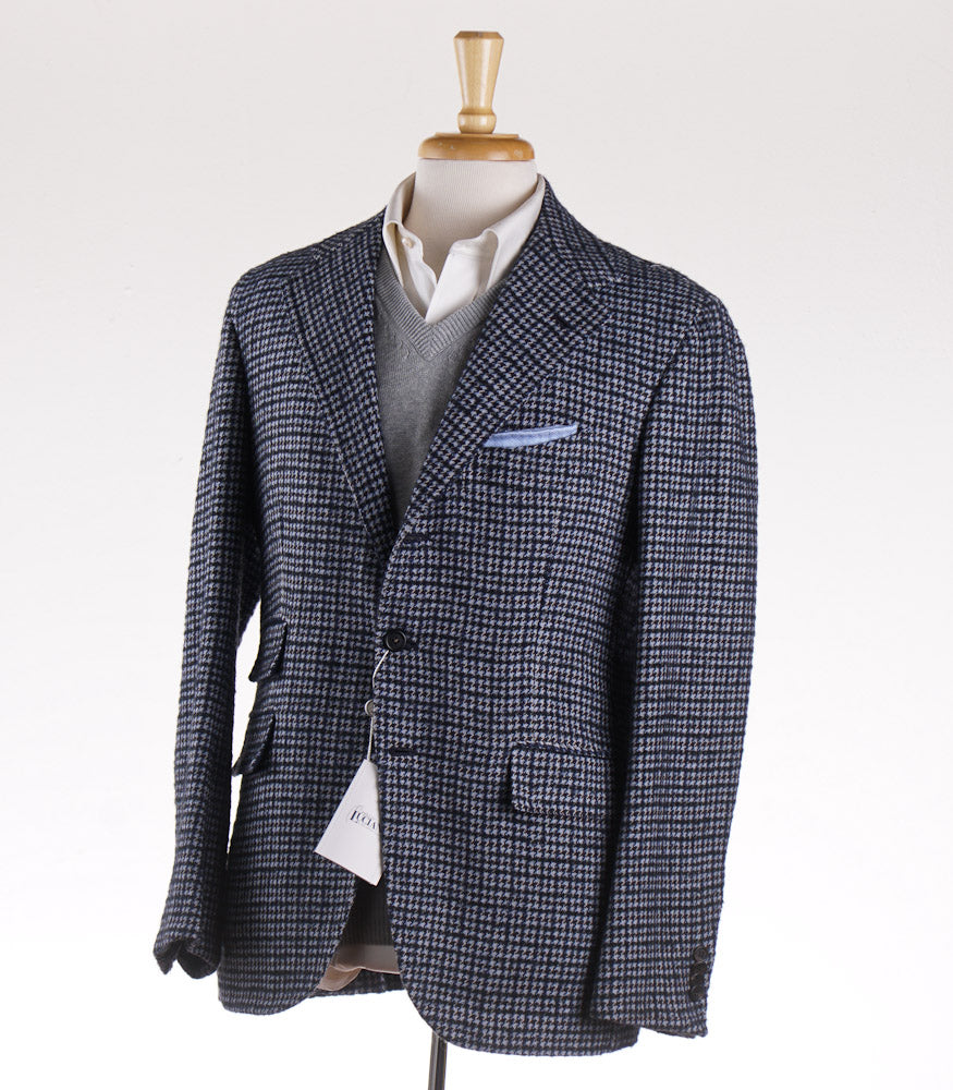 Orazio Luciano Wool Sport Coat in Blue Houndstooth Check - Top Shelf Apparel
