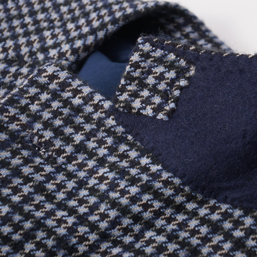 Orazio Luciano Wool Sport Coat in Blue Houndstooth Check