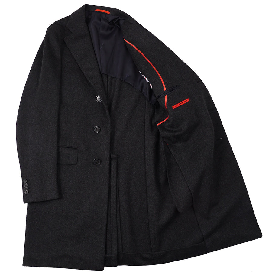 Isaia Charcoal Gray Brushed Wool Overcoat