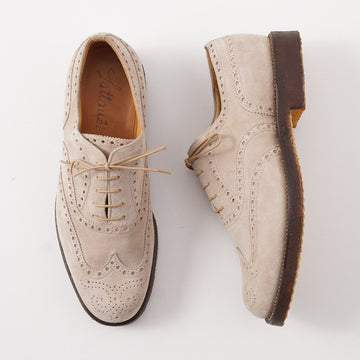 Silvano Lattanzi Wingtip Balmoral in Beige Suede - Top Shelf Apparel