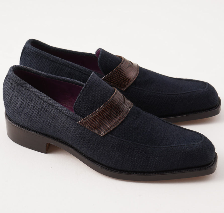 Silvano Lattanzi Canvas Loafer with Lizard Trim - Top Shelf Apparel
