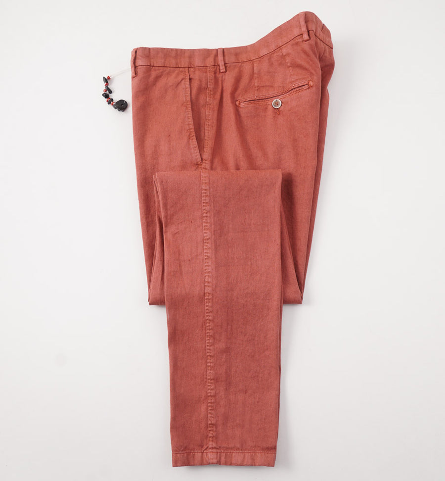 Marco Pescarolo Linen and Cotton Chinos in Terracotta - Top Shelf Apparel