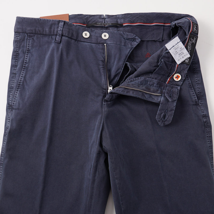 Marco Pescarolo Cotton-Silk Chinos in Washed Navy - Top Shelf Apparel