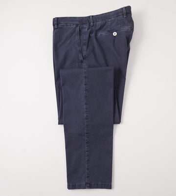 Marco Pescarolo Cotton-Silk Chinos in Washed Navy